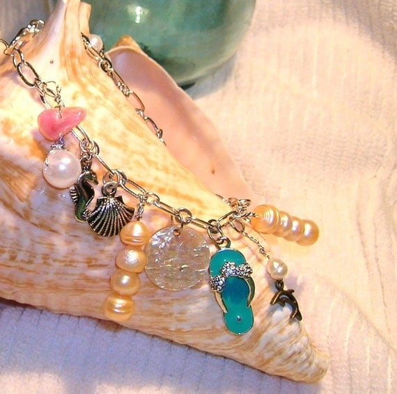 SALE, 25% Off, Mermaid's Charm Bracelet With Freshwater Pearls Sealife Charms and Agates