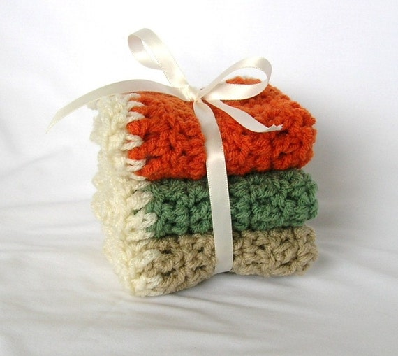 Autumn Leaves Set of 3 Dishcloths / Washcloths in Pumpkin Orange, Green Basil and Spice Brown - Ready to Ship