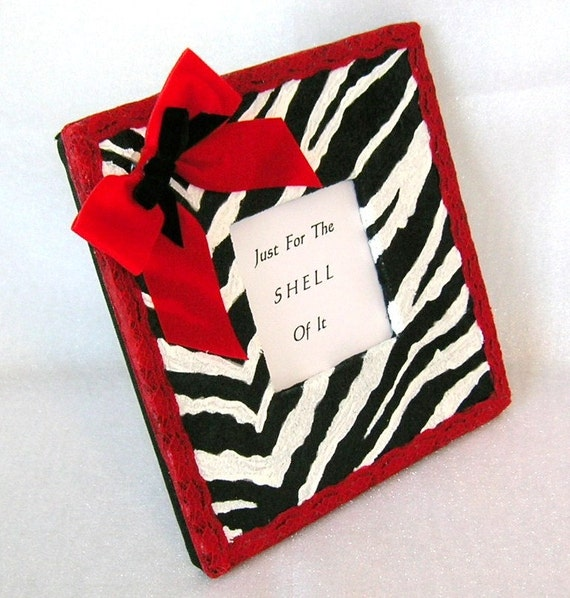 Zebra Print Picture Frame With Shiny Decoupage Finish