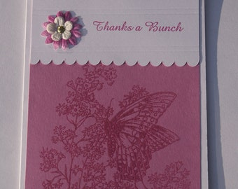 Thank you card - thanks a Bunch - Butterfly card - Embossed card - Handmade cards - Greeting Cards - hand stamped card