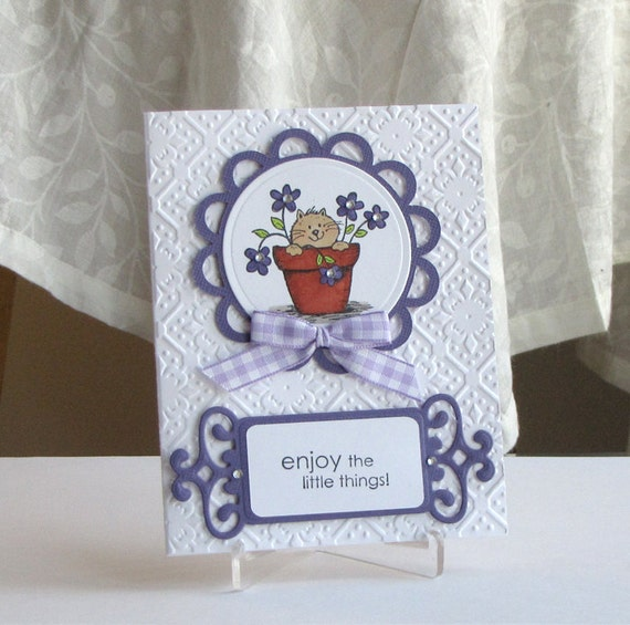 Cat Card - Purple - Hand Stamped Greeting Card