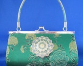 Elegant Emerald Green Silk Clutch with Hand Painted Filigree Medallion