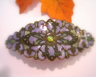 Hand Enameled Filigree Hair Ornament/Barrette in Lavender and Sage Green