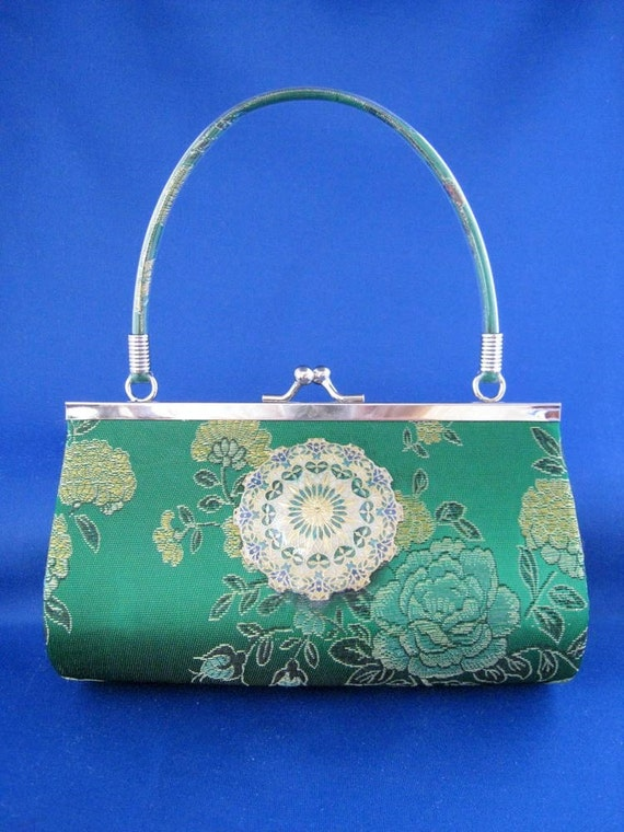 Elegant Emerald Green Silk Clutch with Hand Painted Filigree Medallion