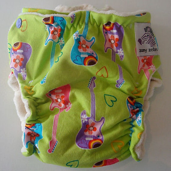 Fitted Cloth Diaper - Medium - Groovy Guitars - Free Ship