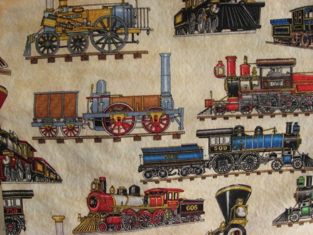 Steam locomotive train fabric 1 yard cut for Train fabric by the yard