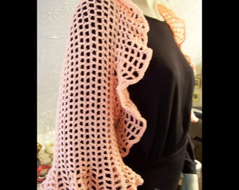Crocheted Ruffled Shrug in Peach