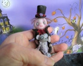 OOAK Ghost Victorian Miniature Teddy Bear Doll Halloween Gail Lackey Ghostie