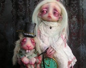 RESERVED OOAK Alice and the White Rabbit in Wonderland Ghost Doll by Gail Lackey