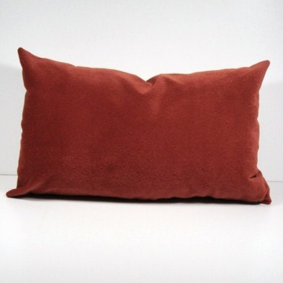 Microsuede Lumbar Pillow Cover / Chili Red / Soft / Eco-Friendly 13x20 / Free Shipping