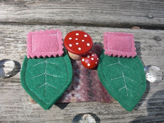 Gnome Fairy Furniture Bed Leaf and Mushroom Bedroom Set Pink