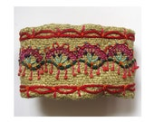 Colorful Hand Embroidered Cuff with Red Accents