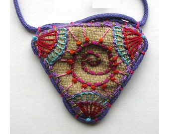 Hand Embroidered Spiral Geometric Necklace