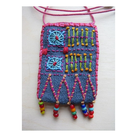 Hand Embroidered  Necklace with Glass Beads