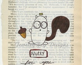 NUTTY - Original Mixed Media Vintage Book Page