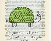 Turtle Journey - Original Mixed Media Altered Vintage Book Page