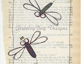 Dragonflies - Original Mixed Media Altered Vintage Book Page