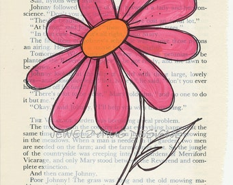 PINK BLOOM Original Mixed Media Altered Book Page