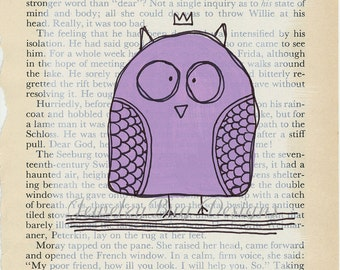 PURPLE HOOT Original Mixed Media Altered Book Page
