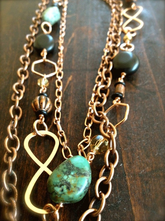 Long Triple Strand Copper Chain and Turquoise Nugget Necklace