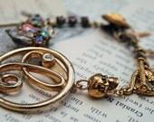 Vintage Brooch Skull Bracelet