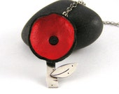 Little Red Poppy Sterling Silver And Leather Necklace