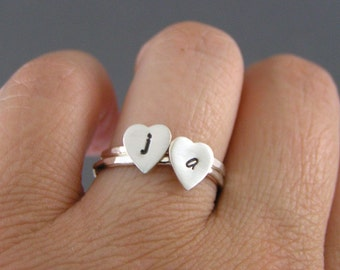 Hearts Of Mine, Sterling Silver Heart Initial Rings, Set Of 2 rings