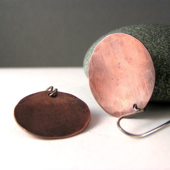 Brushed Copper And Sterling Silver Disk Earrings