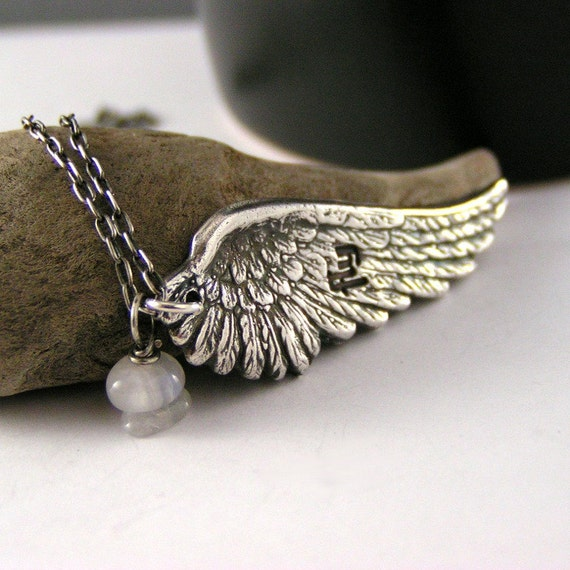 Sterling Silver Angel Wing, Fly, Moonstone Pendant Necklace