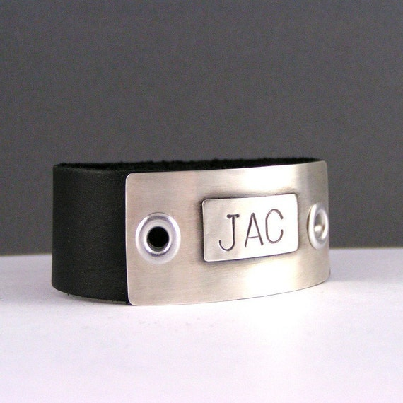 Mens Personalized Custom Initial Leather And Sterling Silver Cuff Bracelet