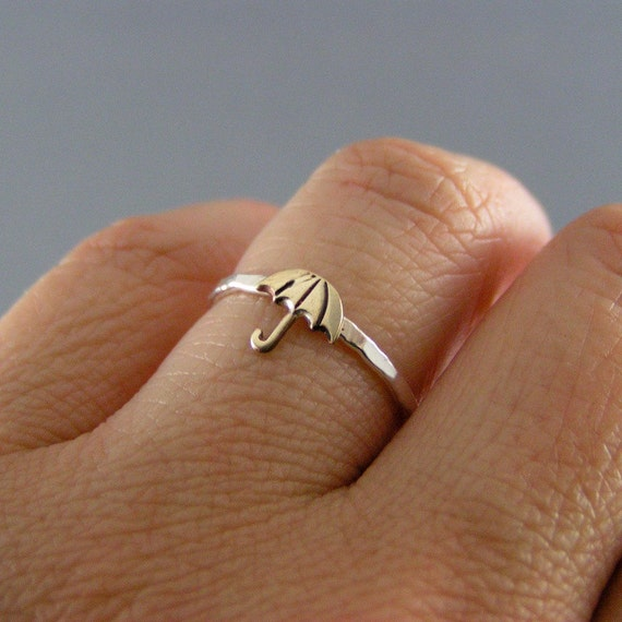 Little Umbrella, Sterling Silver And Brass Ring