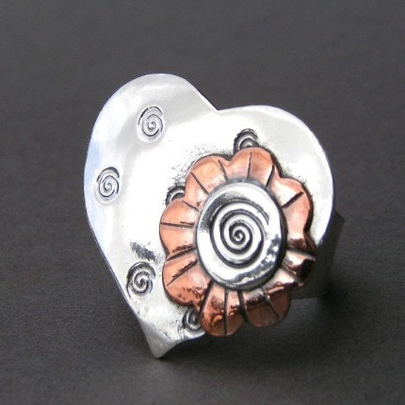 Sterling Silver And Copper, Whimsy Flower Ring, Oh My