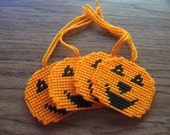 Halloween Pumpkin Gift Tags Plastic Canvas Set of Four clearance