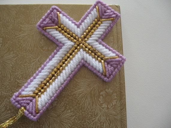 Plastic canvas cross bookmark for Cross in my pocket craft