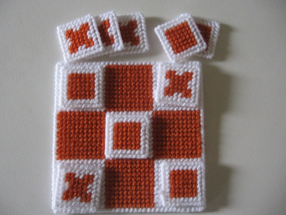 Carrot and White Plastic Canvas Tic Tac Toe Game