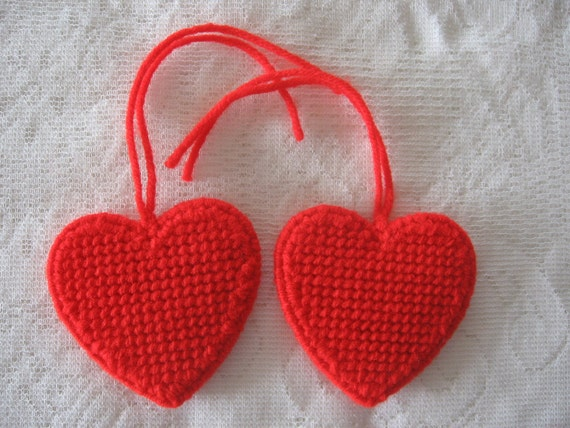 Set of Two Handmade Red Heart Ornaments Plastic Canvas PIF