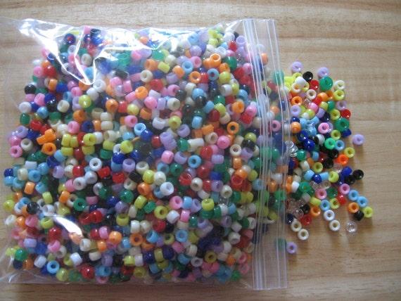 Huge Lot Assorted Colors Plastic Pony Beads Destash