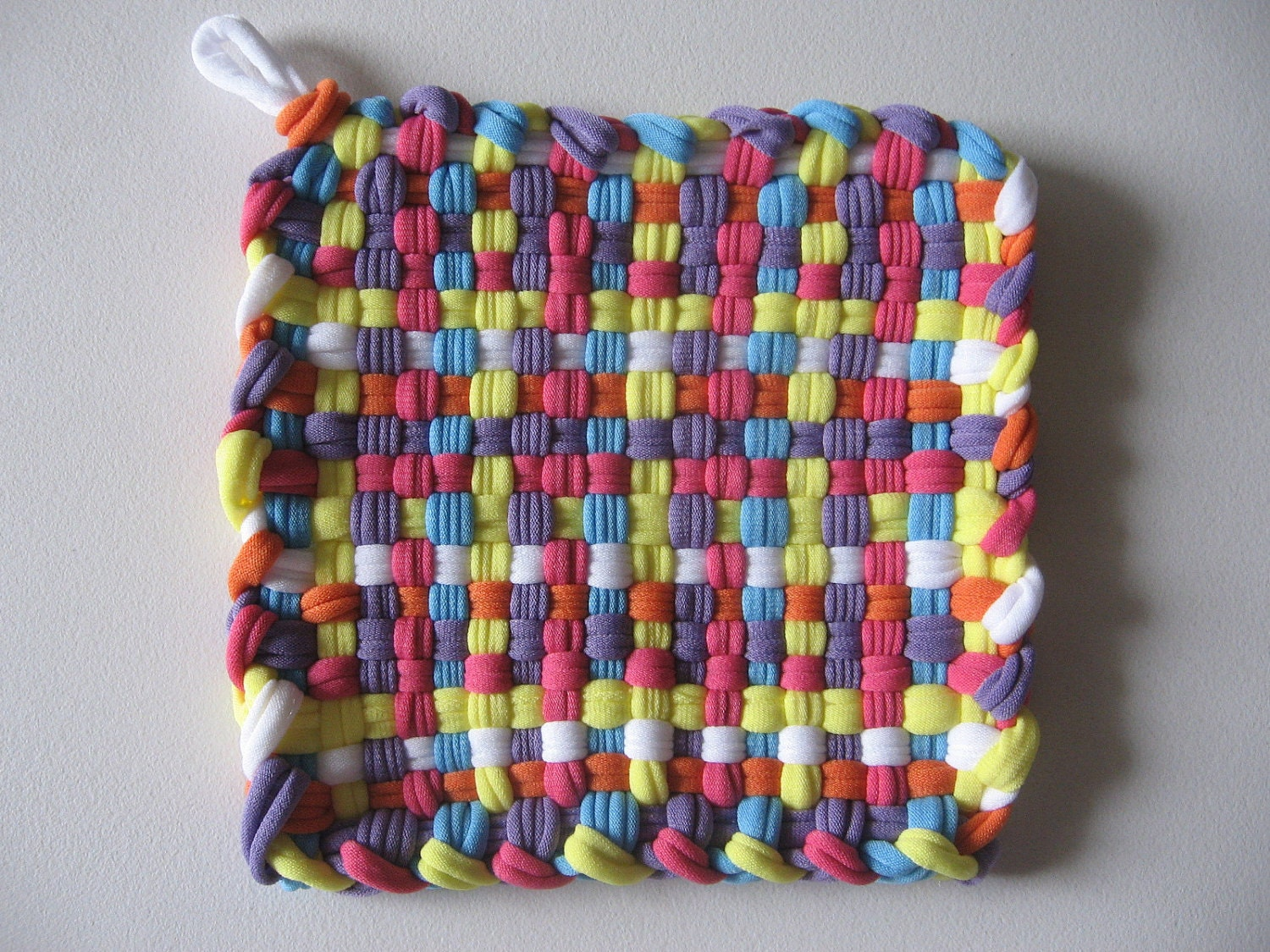 Handmade Woven Pot Holder Mug Mat Multicolor. Free by SashaMCrafts: https://www.etsy.com/listing/86125963/handmade-woven-pot-holder-mug...