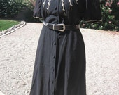Vintage 1940s Black Linen Dress with Soutache Trim - Size Medium