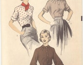 Shy Sex Kitten Vintage 1950s Advance Ladies Blouse Sewing Pattern - Size 12