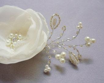 Bridal hair flower, hair pins for your wedding day, bobby hair pins, hair pins, Ivory Silk flower, Pearl, set of 2