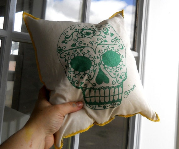 Decorative pillow, Day of the Dead sugar skull couch, bed, or chair pillow
