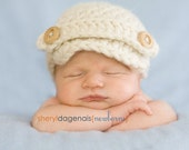 Newborn Button Strap Chunky Newsboy Visor Brim Beanie - Natural cream -Photography Prop