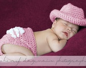 Chunky Pretty Pink Cowgirl Hat and ruffle butt diaper cover set Newborn -Photography Prop knit crochet