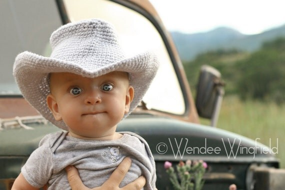 CROCHET PATTERN  - Digital Download Cowboy or Cowgirl Hat Crochet  0-6 month PATTERN  001 - Photography Prop pattern