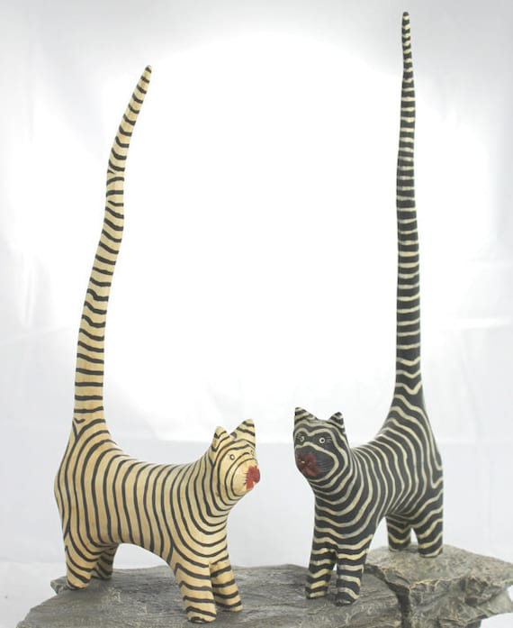 Two Hand Carved Wooden Cats Painted Black with White Stripes