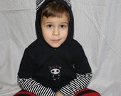 Girl hoodie with ear, stripe black and white bottom sleeves , skull with catsuit embroidery. 12 months to 6T