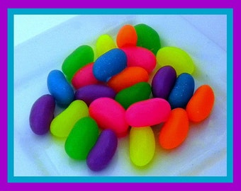 Jelly Bean Soap - Jelly Beans - Easter - Easter Basket Filler - Candy Soap - Free U.S. Shipping - Set of 24 - Neon Colors