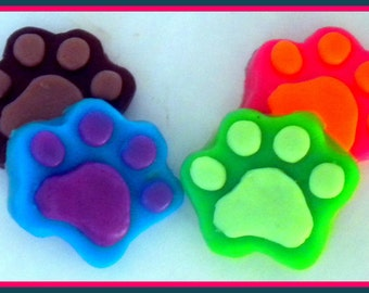 Paw Soap - Paw Prints - Dog - Cat - Paws - 4 Soaps - Party Favors - You Choose Colors and Scent