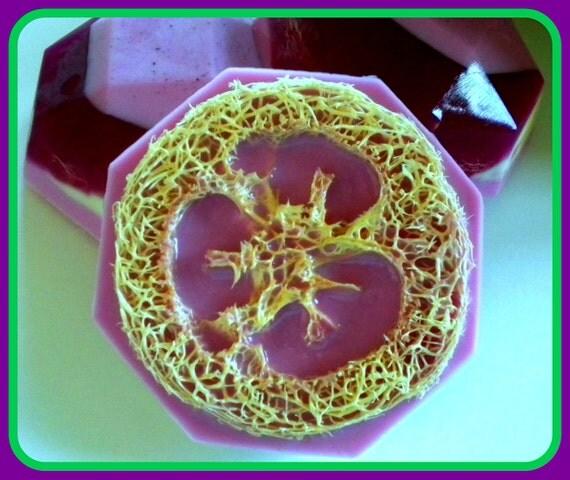 Soap - Loofah Soap - Loofa - Lavender French Vanilla - Gift for Woman - Exfoliator - Purple Soap